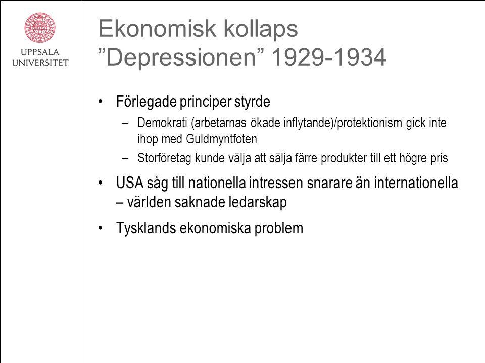 """Ekonomisk kollaps """"Depressionen"""" 1929-1934 Förlegade principer styrde –Demokrati (arbetarnas ökade inflytande)/protektionism gick inte ihop med Guldmy"""