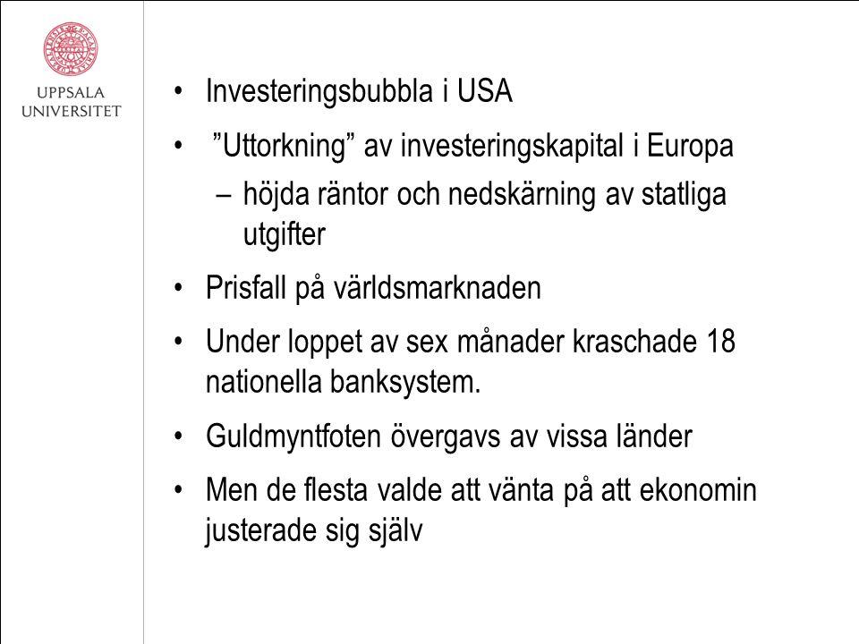 """Investeringsbubbla i USA """"Uttorkning"""" av investeringskapital i Europa –höjda räntor och nedskärning av statliga utgifter Prisfall på världsmarknaden U"""