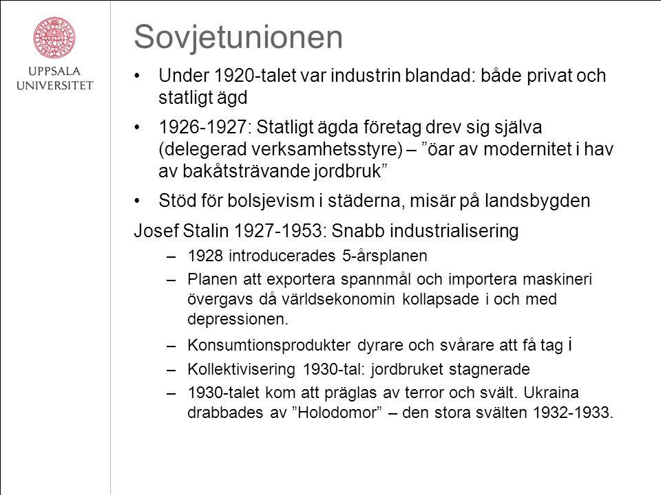 Sovjetunionen Under 1920-talet var industrin blandad: både privat och statligt ägd 1926-1927: Statligt ägda företag drev sig själva (delegerad verksam