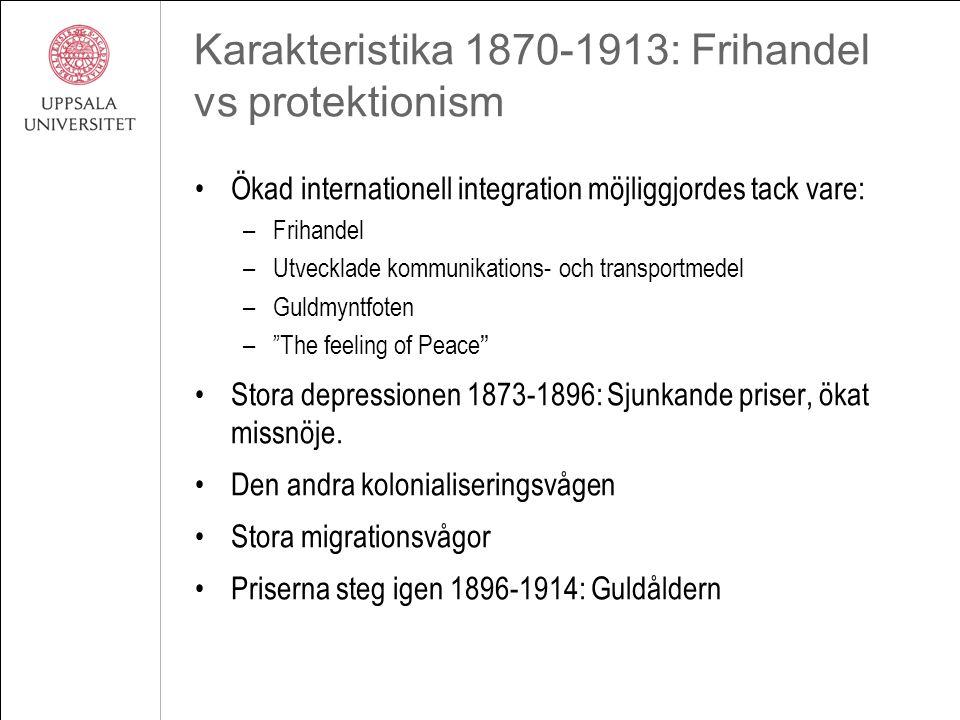 Karakteristika 1870-1913: Frihandel vs protektionism Ökad internationell integration möjliggjordes tack vare: –Frihandel –Utvecklade kommunikations- o