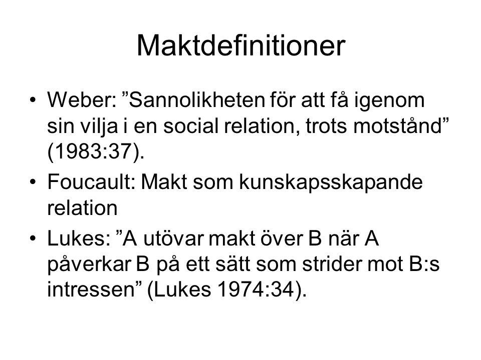 Maktdefinitioner Weber: Sannolikheten för att få igenom sin vilja i en social relation, trots motstånd (1983:37).