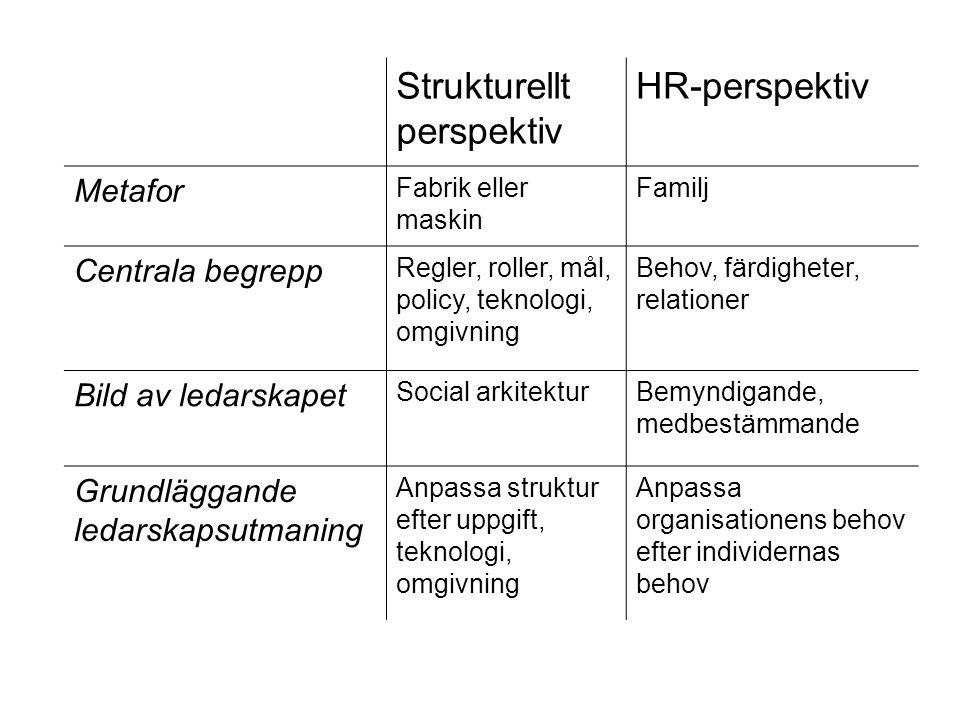 Strukturellt perspektiv HR-perspektiv Metafor Fabrik eller maskin Familj Centrala begrepp Regler, roller, mål, policy, teknologi, omgivning Behov, fär