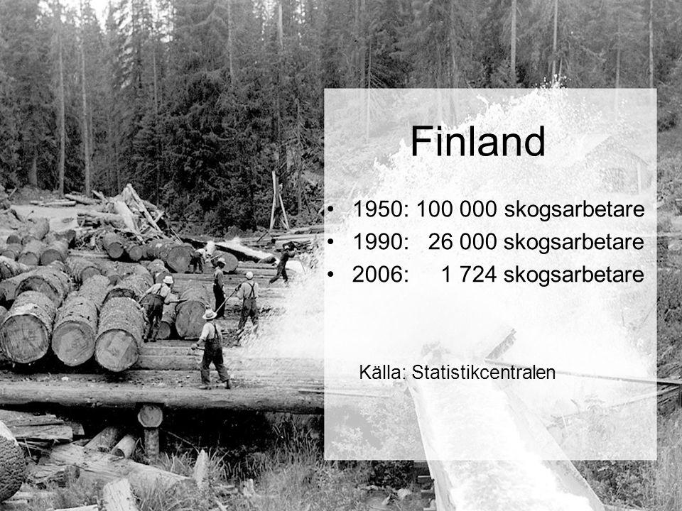 Finland 1950: 100 000 skogsarbetare 1990: 26 000 skogsarbetare 2006: 1 724 skogsarbetare Källa: Statistikcentralen