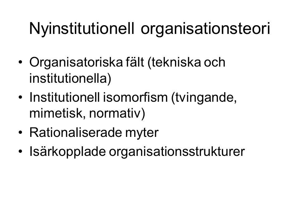 Nyinstitutionell organisationsteori Organisatoriska fält (tekniska och institutionella) Institutionell isomorfism (tvingande, mimetisk, normativ) Rationaliserade myter Isärkopplade organisationsstrukturer