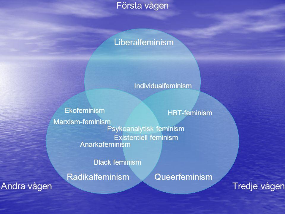 Första vågen Tredje vågen Andra vågen Liberalfeminism RadikalfeminismQueerfeminism Individualfeminism Anarkafeminism Ekofeminism Marxism-feminism Black feminism Existentiell feminism Psykoanalytisk feminism HBT-feminism