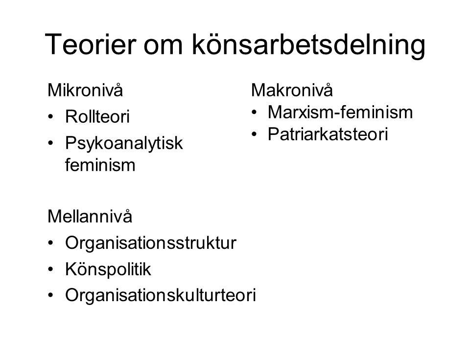 Teorier om könsarbetsdelning Mellannivå Organisationsstruktur Könspolitik Organisationskulturteori Mikronivå Rollteori Psykoanalytisk feminism Makronivå Marxism-feminism Patriarkatsteori