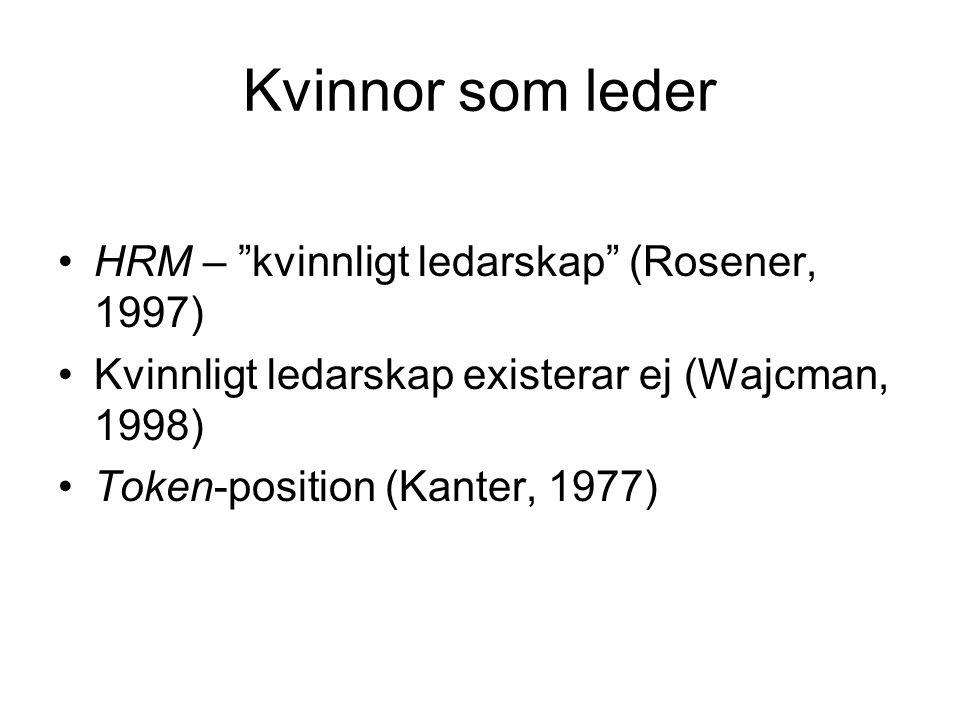 """Kvinnor som leder HRM – """"kvinnligt ledarskap"""" (Rosener, 1997) Kvinnligt ledarskap existerar ej (Wajcman, 1998) Token-position (Kanter, 1977)"""