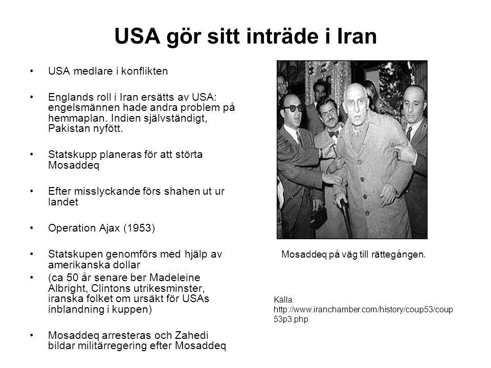 USA gör sitt inträde i Iran USA medlare i konflikten Englands roll i Iran ersätts av USA: engelsmännen hade andra problem på hemmaplan.