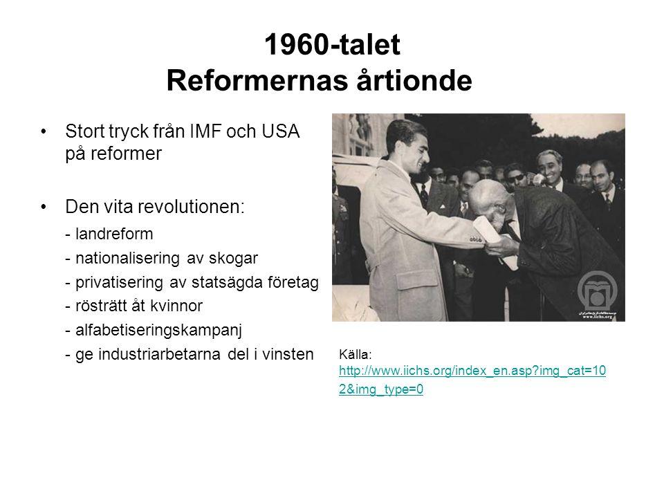1960-talet Reformernas årtionde Stort tryck från IMF och USA på reformer Den vita revolutionen: - landreform - nationalisering av skogar - privatisering av statsägda företag - rösträtt åt kvinnor - alfabetiseringskampanj - ge industriarbetarna del i vinsten Källa: http://www.iichs.org/index_en.asp img_cat=10 2&img_type=0 http://www.iichs.org/index_en.asp img_cat=10 2&img_type=0