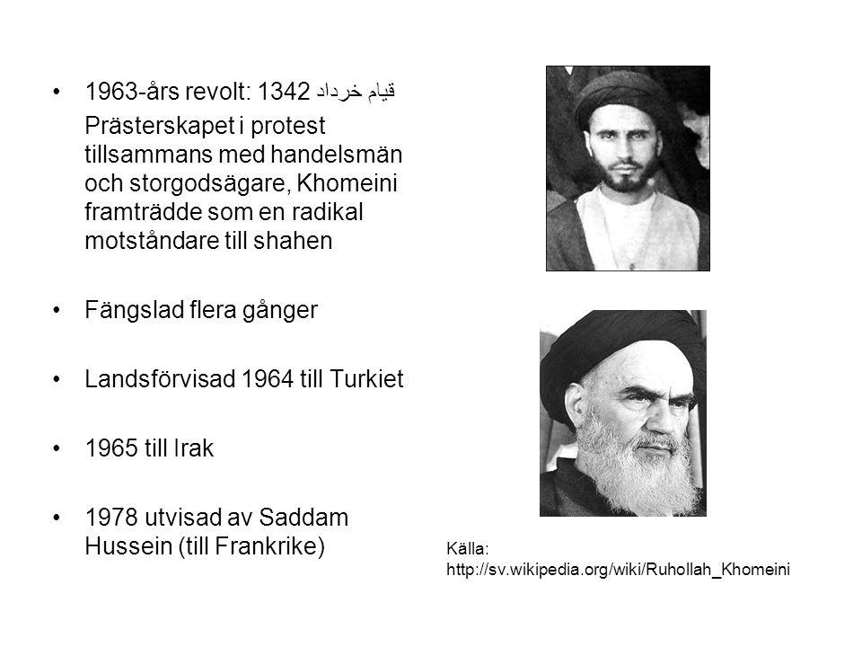 1963-års revolt: قیام خرداد 1342 Prästerskapet i protest tillsammans med handelsmän och storgodsägare, Khomeini framträdde som en radikal motståndare till shahen Fängslad flera gånger Landsförvisad 1964 till Turkiet 1965 till Irak 1978 utvisad av Saddam Hussein (till Frankrike) Källa: http://sv.wikipedia.org/wiki/Ruhollah_Khomeini