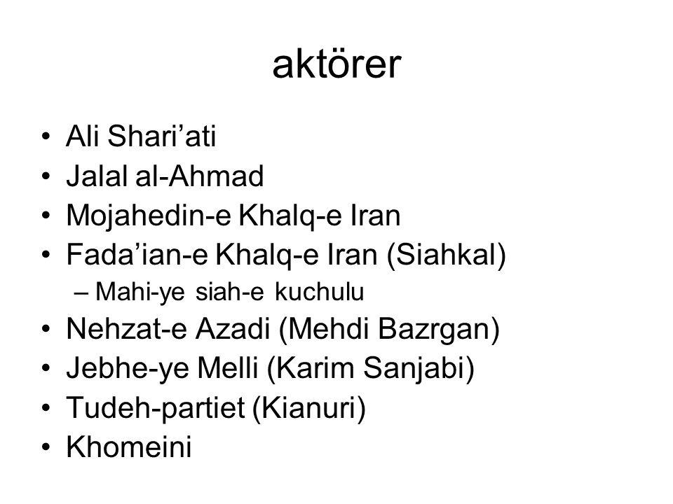 aktörer Ali Shari'ati Jalal al-Ahmad Mojahedin-e Khalq-e Iran Fada'ian-e Khalq-e Iran (Siahkal) –Mahi-ye siah-e kuchulu Nehzat-e Azadi (Mehdi Bazrgan) Jebhe-ye Melli (Karim Sanjabi) Tudeh-partiet (Kianuri) Khomeini