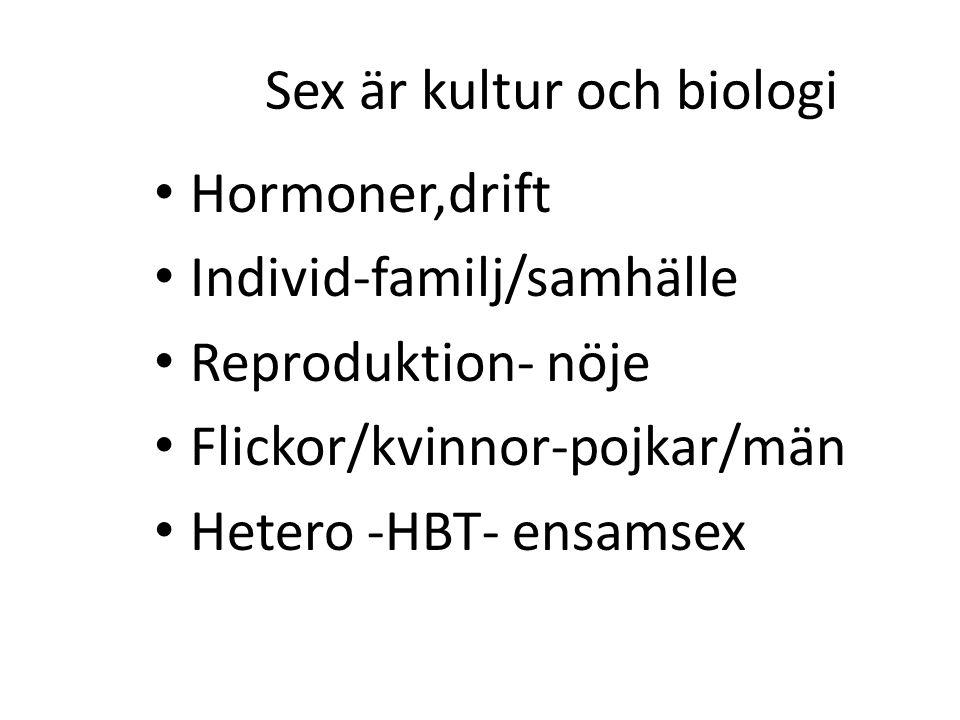 Sex är kultur och biologi Hormoner,drift Individ-familj/samhälle Reproduktion- nöje Flickor/kvinnor-pojkar/män Hetero -HBT- ensamsex