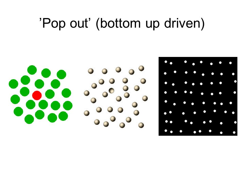 'Pop out' (bottom up driven)