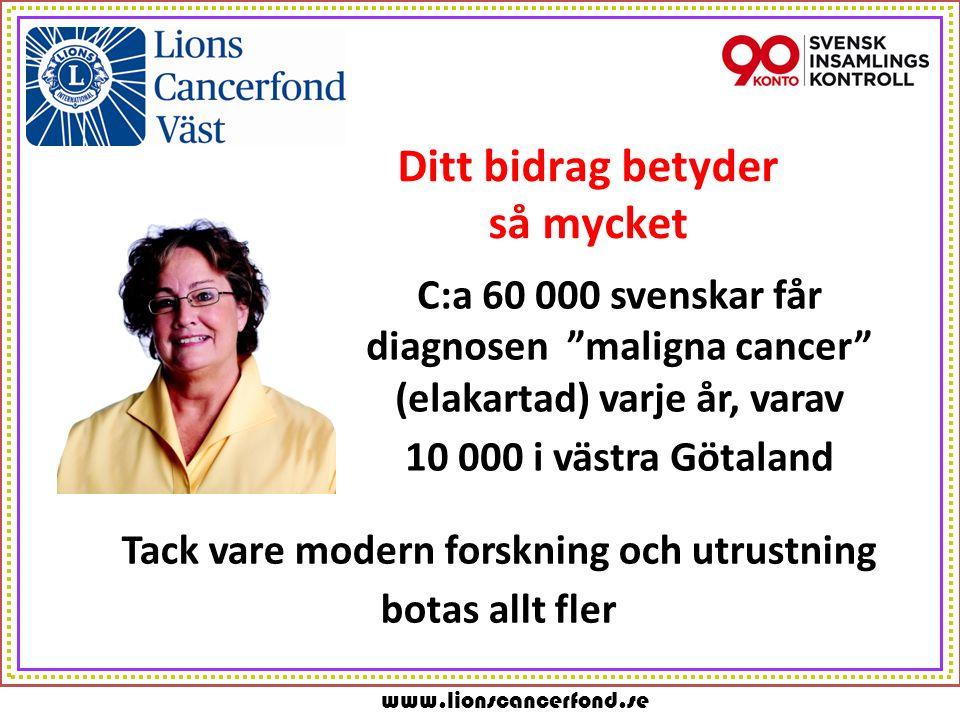 www.lionscancerfond.se Ditt bidrag betyder så mycket C:a 60 000 svenskar får diagnosen maligna cancer (elakartad) varje år, varav 10 000 i västra Götaland Tack vare modern forskning och utrustning botas allt fler
