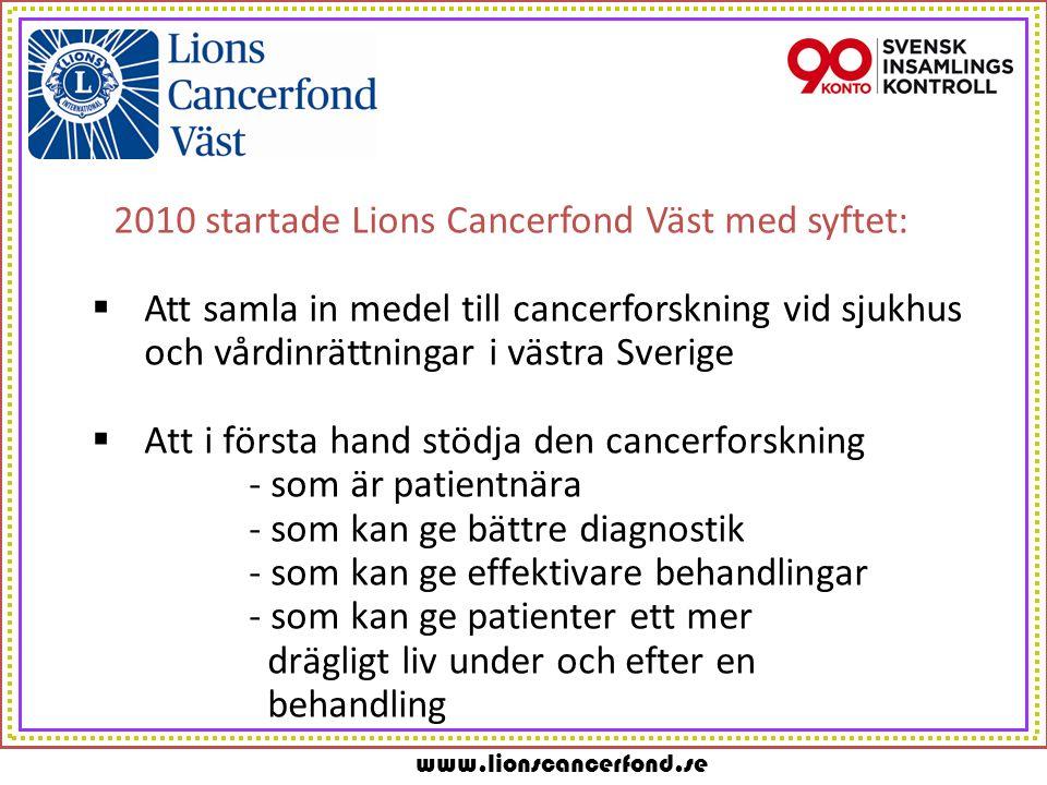 www.lionscancerfond.se 2010 startade Lions Cancerfond Väst med syftet:  Att samla in medel till cancerforskning vid sjukhus och vårdinrättningar i västra Sverige  Att i första hand stödja den cancerforskning - som är patientnära - som kan ge bättre diagnostik - som kan ge effektivare behandlingar - som kan ge patienter ett mer drägligt liv under och efter en behandling