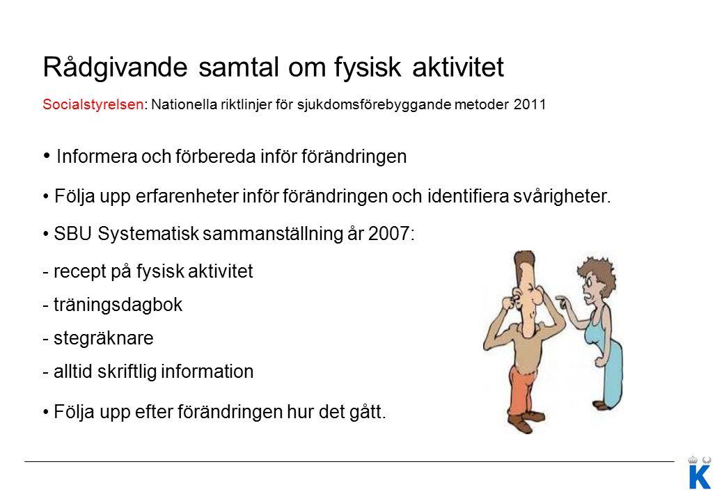 Rådgivande samtal om fysisk aktivitet Socialstyrelsen: Nationella riktlinjer för sjukdomsförebyggande metoder 2011 Informera och förbereda inför förän