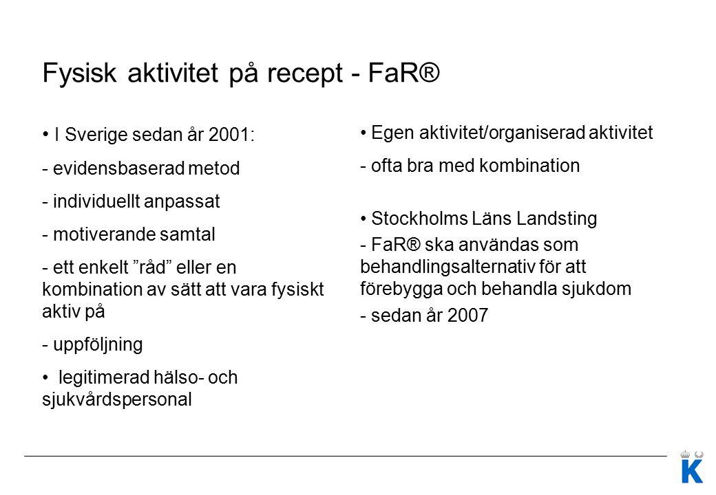 Fysisk aktivitet på recept - FaR® I Sverige sedan år 2001: - evidensbaserad metod - individuellt anpassat - motiverande samtal - ett enkelt råd eller en kombination av sätt att vara fysiskt aktiv på - uppföljning legitimerad hälso- och sjukvårdspersonal Egen aktivitet/organiserad aktivitet - ofta bra med kombination Stockholms Läns Landsting - FaR® ska användas som behandlingsalternativ för att förebygga och behandla sjukdom - sedan år 2007