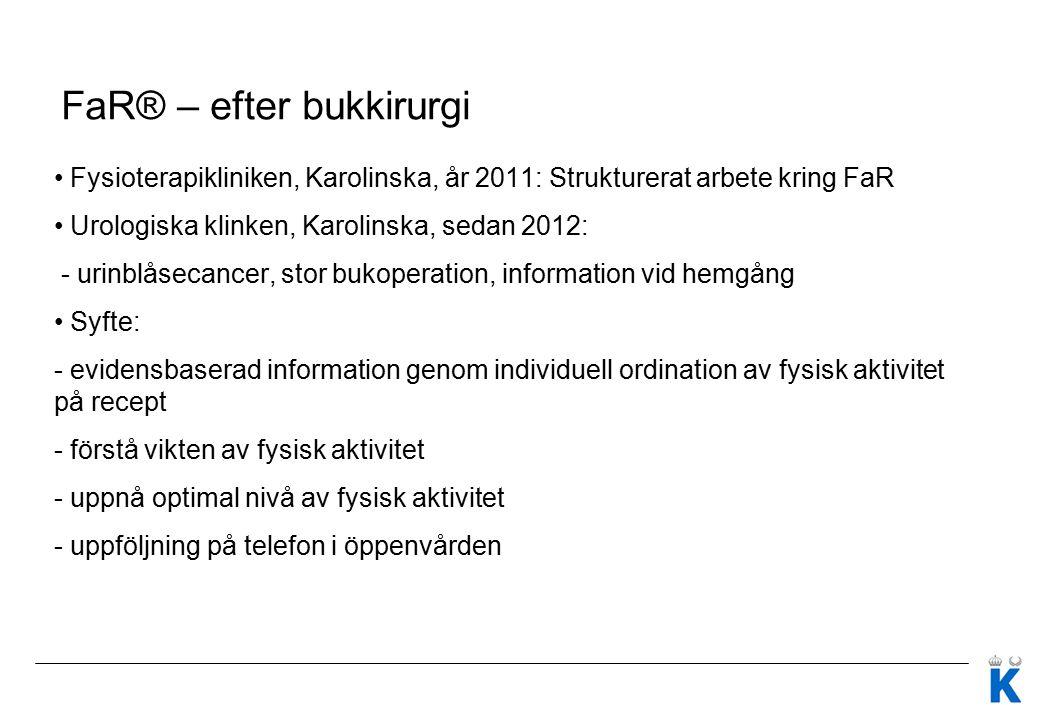 FaR® – efter bukkirurgi Fysioterapikliniken, Karolinska, år 2011: Strukturerat arbete kring FaR Urologiska klinken, Karolinska, sedan 2012: - urinblås