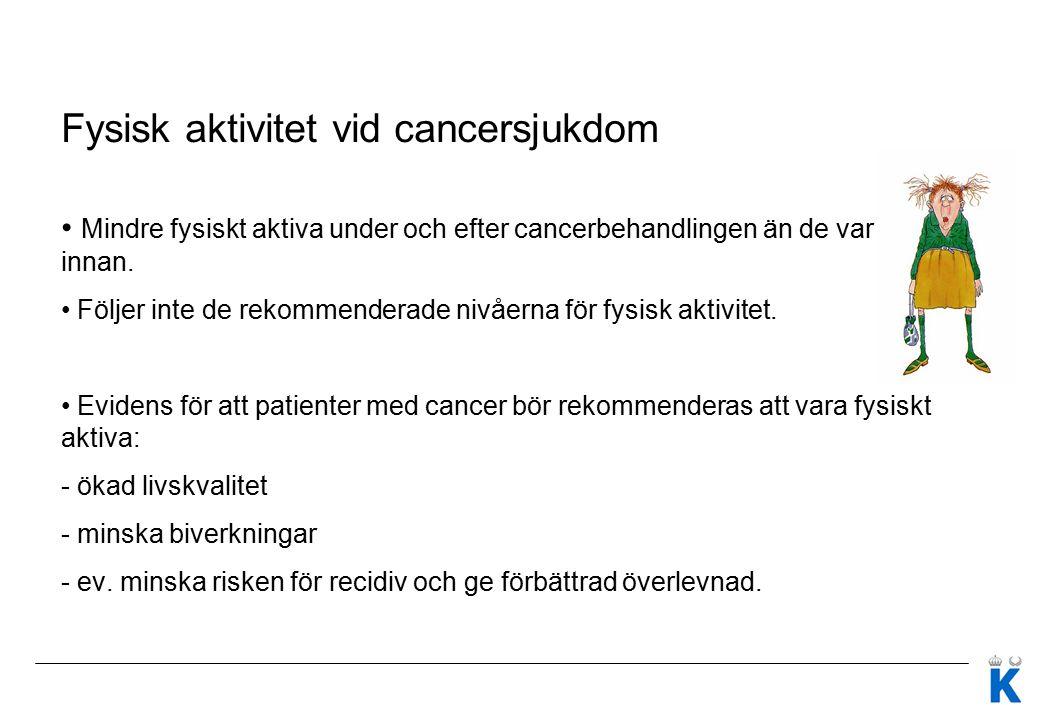 Fysisk aktivitet vid cancersjukdom Mindre fysiskt aktiva under och efter cancerbehandlingen än de var innan. Följer inte de rekommenderade nivåerna fö