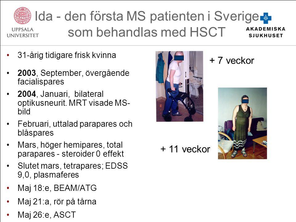 Ida - den första MS patienten i Sverige som behandlas med HSCT 31-årig tidigare frisk kvinna 2003, September, övergående facialispares 2004, Januari, bilateral optikusneurit.