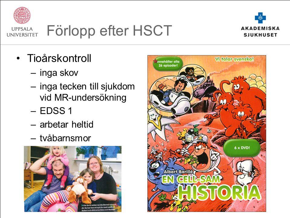 Förlopp efter HSCT Tioårskontroll –inga skov –inga tecken till sjukdom vid MR-undersökning –EDSS 1 –arbetar heltid –tvåbarnsmor –trebarnsmor