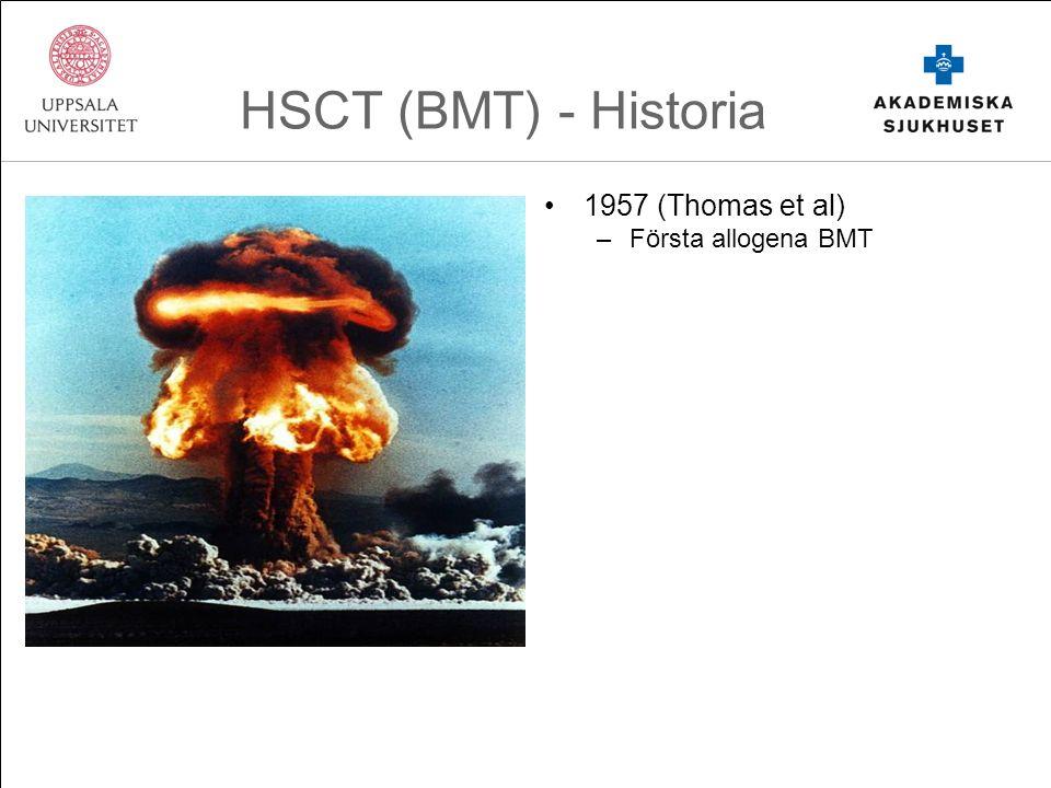 HSCT (BMT) - Historia 1957 (Thomas et al) –Första allogena BMT