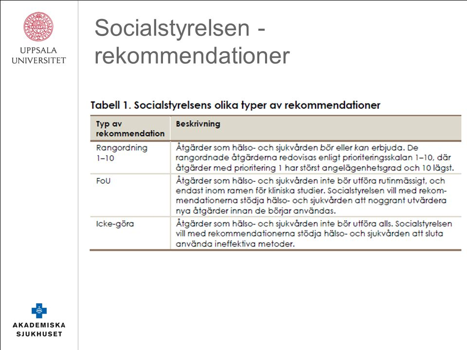 Socialstyrelsen - rekommendationer
