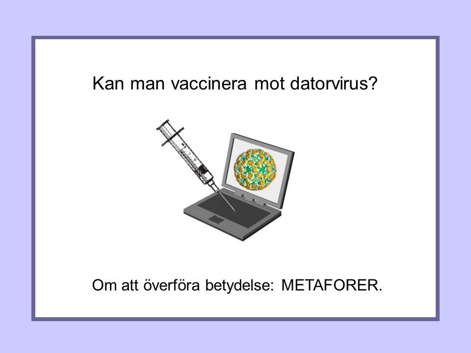Kan man vaccinera mot datorvirus Om att överföra betydelse: METAFORER.