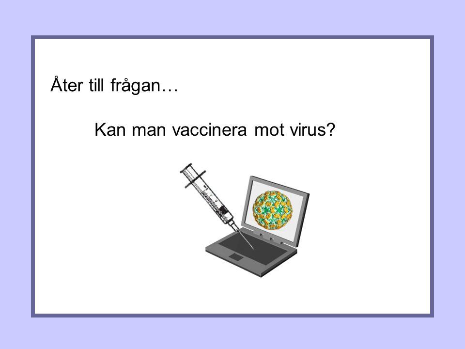 Åter till frågan… Kan man vaccinera mot virus