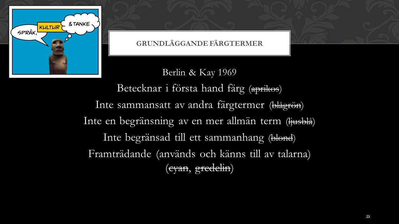 GRUNDLÄGGANDE FÄRGTERMER Berlin & Kay 1969 Betecknar i första hand färg (aprikos) Inte sammansatt av andra färgtermer (blågrön) Inte en begränsning av en mer allmän term (ljusblå) Inte begränsad till ett sammanhang (blond) Framträdande (används och känns till av talarna) (cyan, gredelin) 23