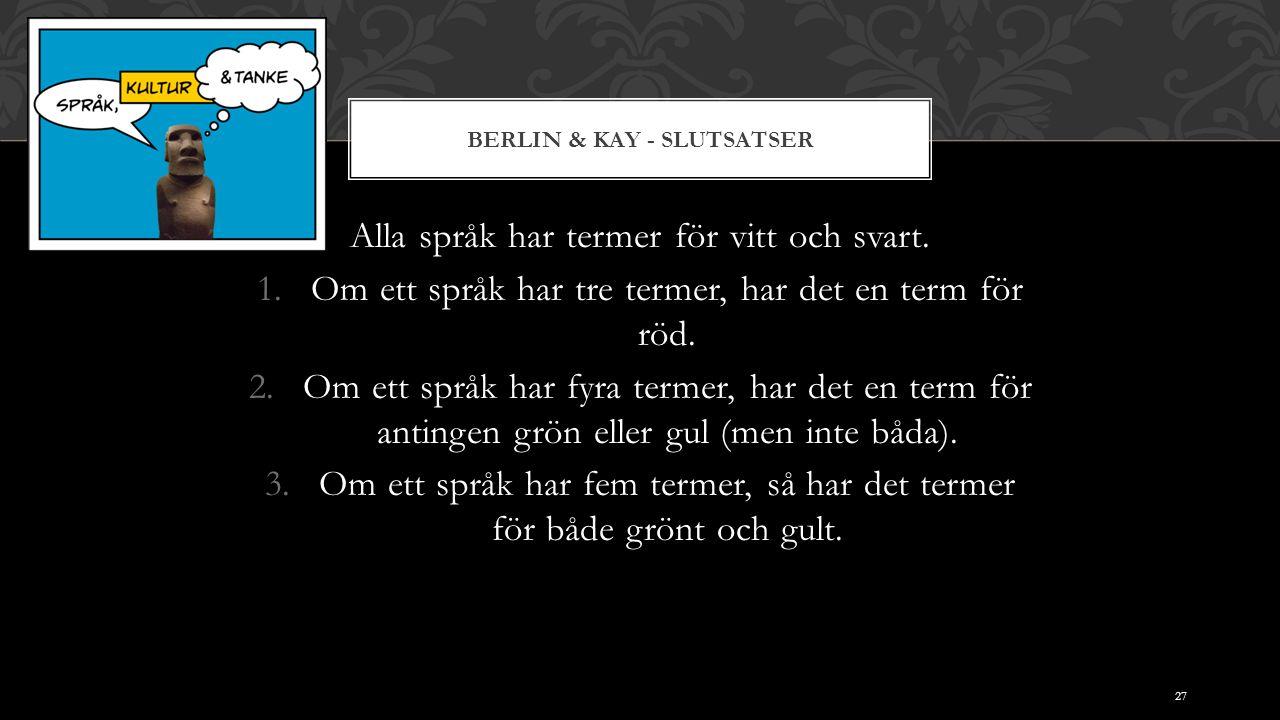 BERLIN & KAY - SLUTSATSER Alla språk har termer för vitt och svart. 1.Om ett språk har tre termer, har det en term för röd. 2.Om ett språk har fyra te