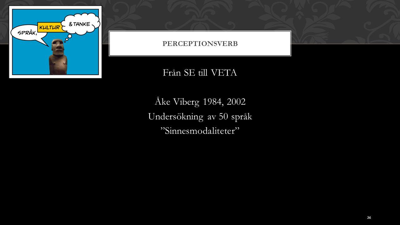 """PERCEPTIONSVERB Från SE till VETA Åke Viberg 1984, 2002 Undersökning av 50 språk """"Sinnesmodaliteter"""" 36"""