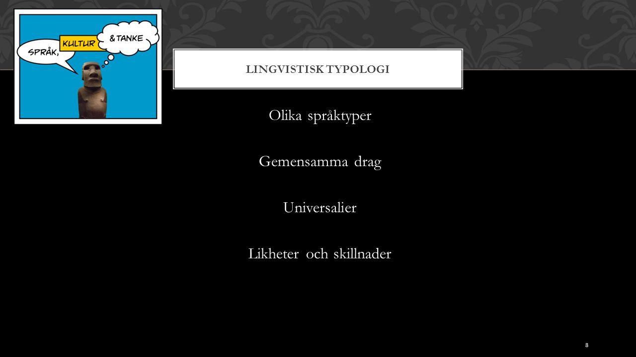 LINGVISTISK TYPOLOGI Olika språktyper Gemensamma drag Universalier Likheter och skillnader 8