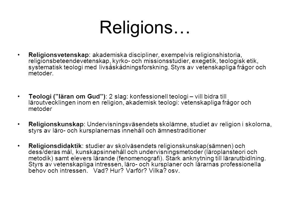 Religions… Religionsvetenskap: akademiska discipliner, exempelvis religionshistoria, religionsbeteendevetenskap, kyrko- och missionsstudier, exegetik, teologisk etik, systematisk teologi med livsåskådningsforskning.