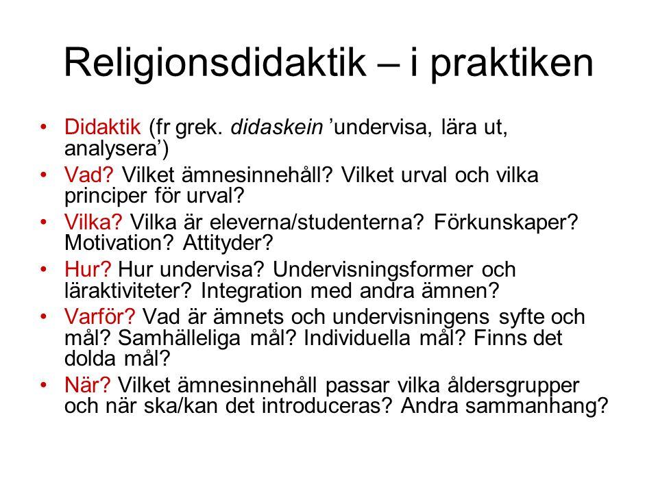 Religionsdidaktik – i praktiken Didaktik (fr grek.