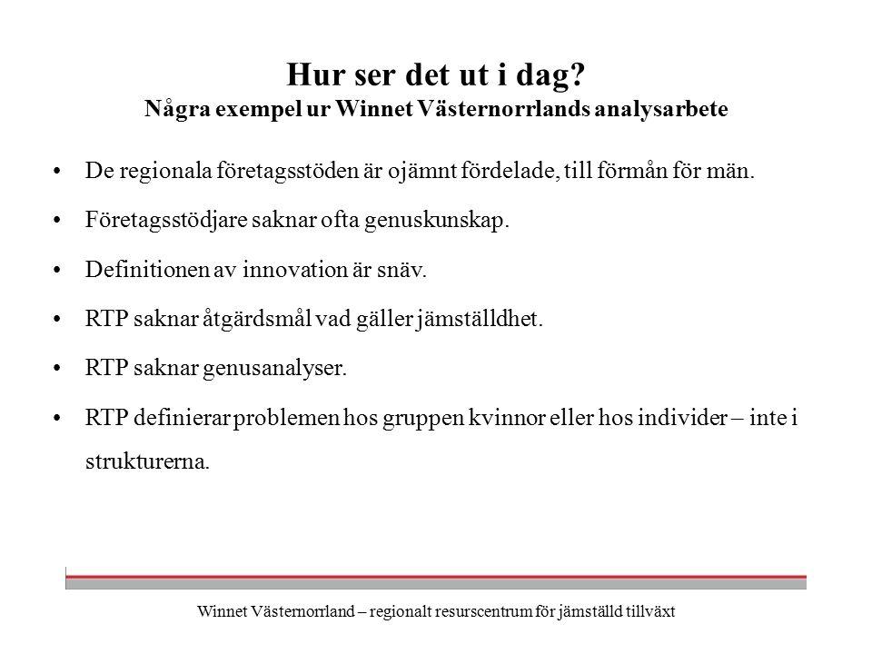 Winnet Västernorrland – regionalt resurscentrum för jämställd tillväxt Hur ser det ut i dag.