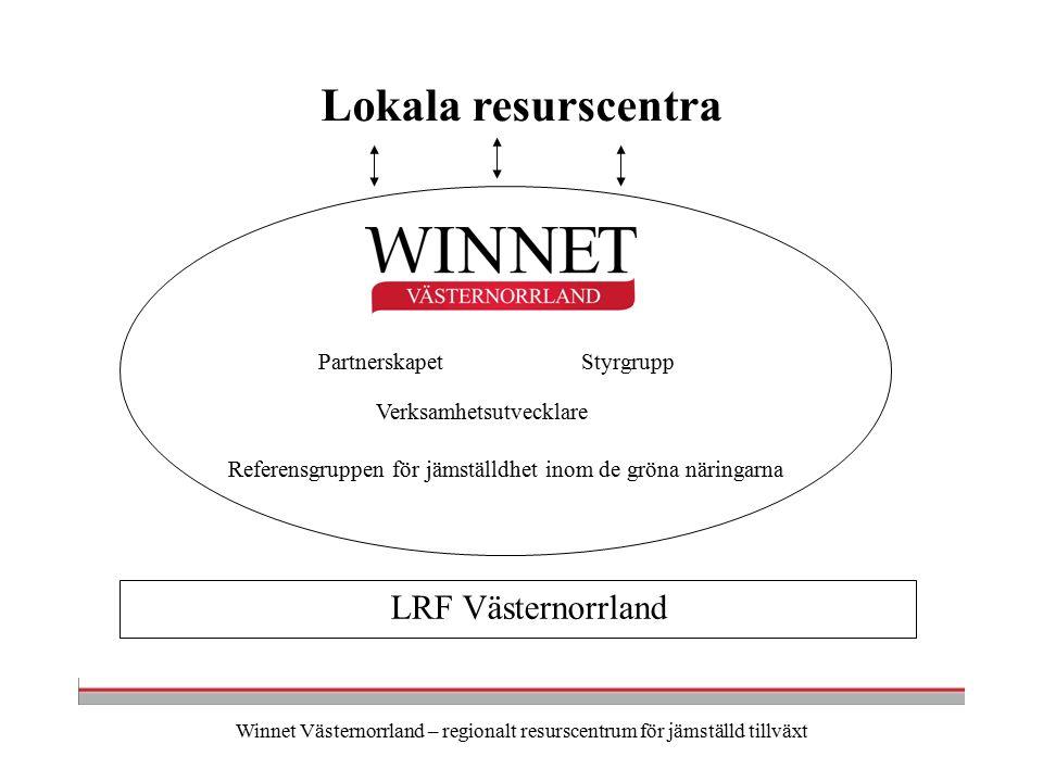 Winnet Västernorrland – regionalt resurscentrum för jämställd tillväxt LRF Västernorrland Verksamhetsutvecklare PartnerskapetStyrgrupp Referensgruppen för jämställdhet inom de gröna näringarna Lokala resurscentra