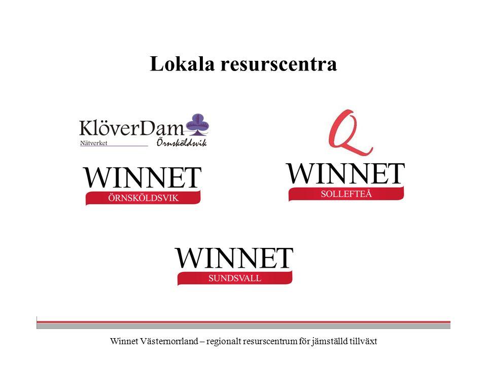 Winnet Västernorrland – regionalt resurscentrum för jämställd tillväxt Lokala resurscentra