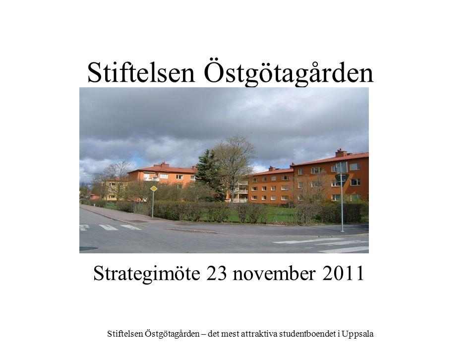 Stiftelsen Östgötagården Stiftelsen Östgötagården – det mest attraktiva studentboendet i Uppsala Strategimöte 23 november 2011