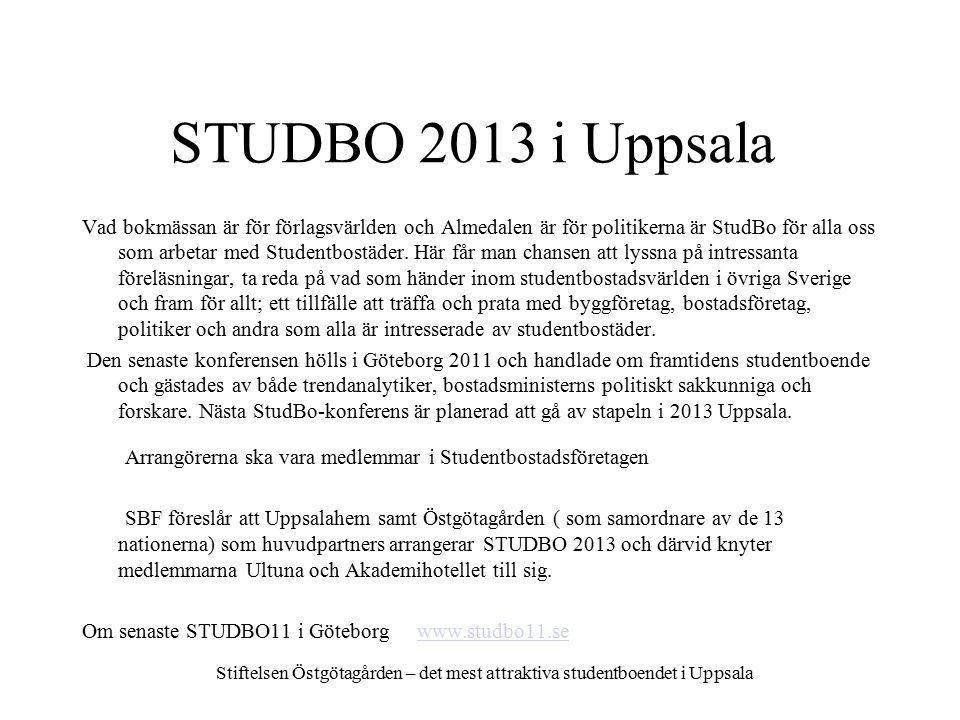 STUDBO 2013 i Uppsala Stiftelsen Östgötagården – det mest attraktiva studentboendet i Uppsala Vad bokmässan är för förlagsvärlden och Almedalen är för politikerna är StudBo för alla oss som arbetar med Studentbostäder.