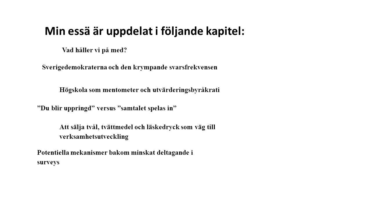 """Sverigedemokraterna och den krympande svarsfrekvensen Vad håller vi på med? Högskola som mentometer och utvärderingsbyråkrati """"Du blir uppringd"""" versu"""