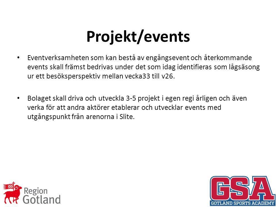 Projekt/events Eventverksamheten som kan bestå av engångsevent och återkommande events skall främst bedrivas under det som idag identifieras som lågsäsong ur ett besöksperspektiv mellan vecka33 till v26.