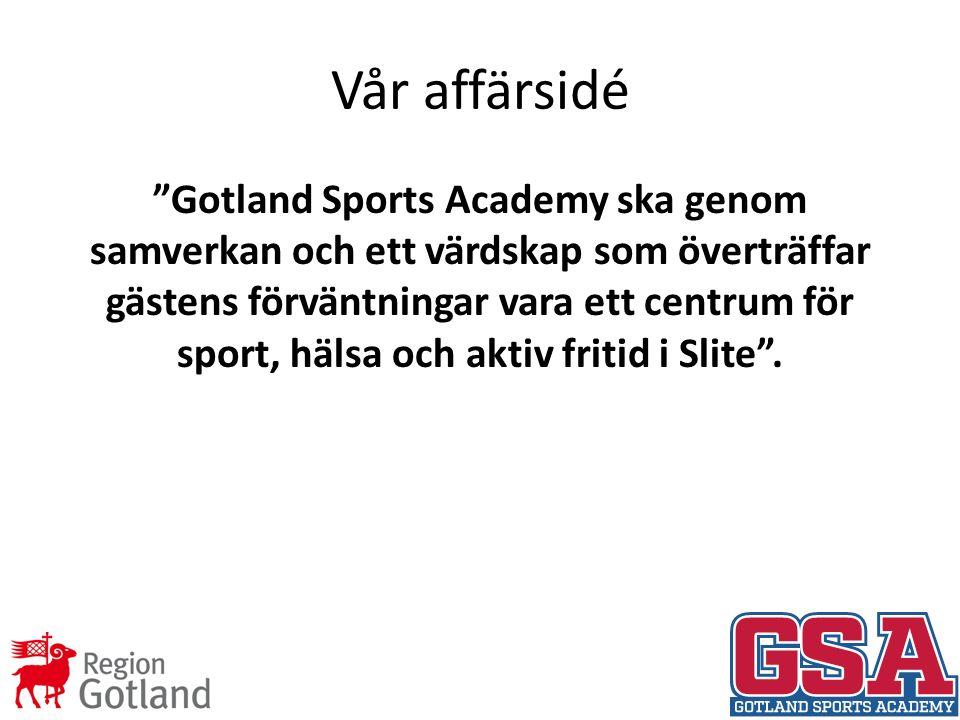 Vår affärsidé Gotland Sports Academy ska genom samverkan och ett värdskap som överträffar gästens förväntningar vara ett centrum för sport, hälsa och aktiv fritid i Slite .