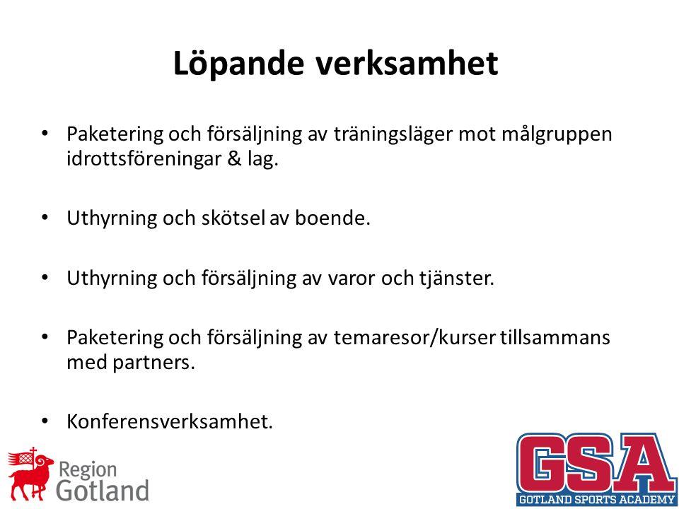 Löpande verksamhet Paketering och försäljning av träningsläger mot målgruppen idrottsföreningar & lag.