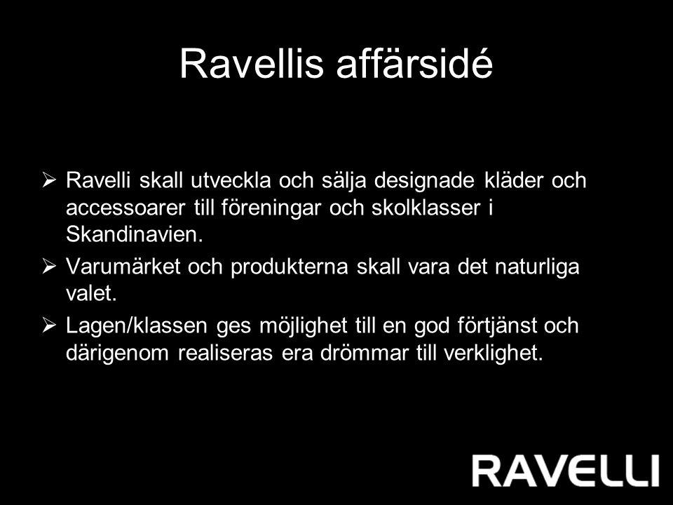 Ravellis affärsidé  Ravelli skall utveckla och sälja designade kläder och accessoarer till föreningar och skolklasser i Skandinavien.