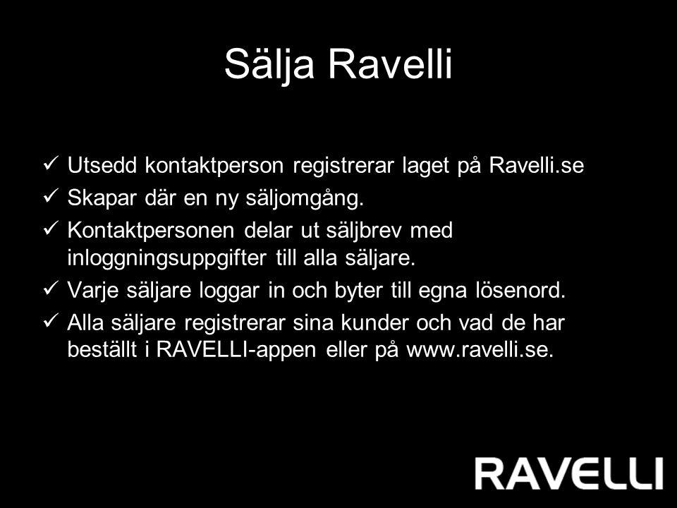 Sälja Ravelli Utsedd kontaktperson registrerar laget på Ravelli.se Skapar där en ny säljomgång.