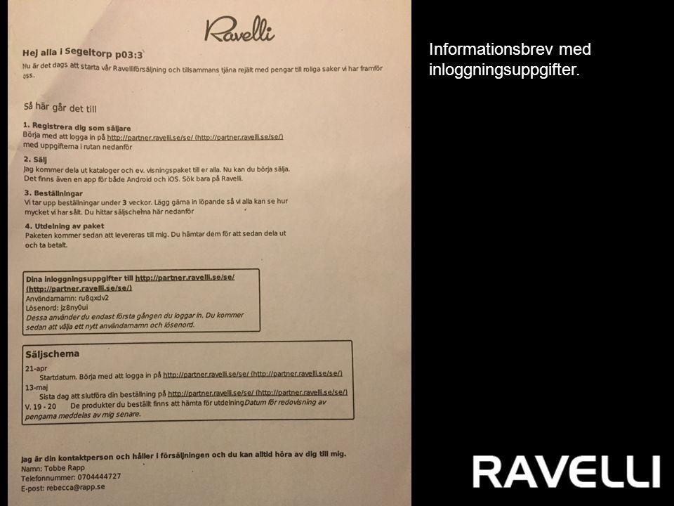 Informationsbrev med inloggningsuppgifter.