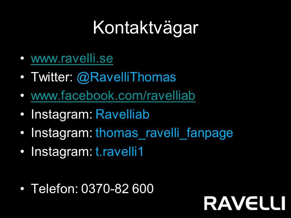 Kontaktvägar www.ravelli.se Twitter: @RavelliThomas www.facebook.com/ravelliab Instagram: Ravelliab Instagram: thomas_ravelli_fanpage Instagram: t.ravelli1 Telefon: 0370-82 600