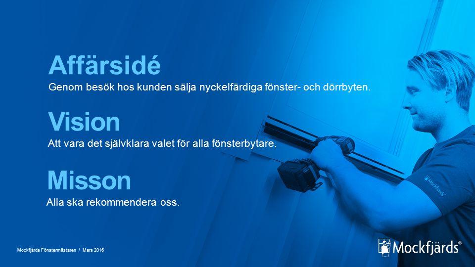 Affärsidé Genom besök hos kunden sälja nyckelfärdiga fönster- och dörrbyten.