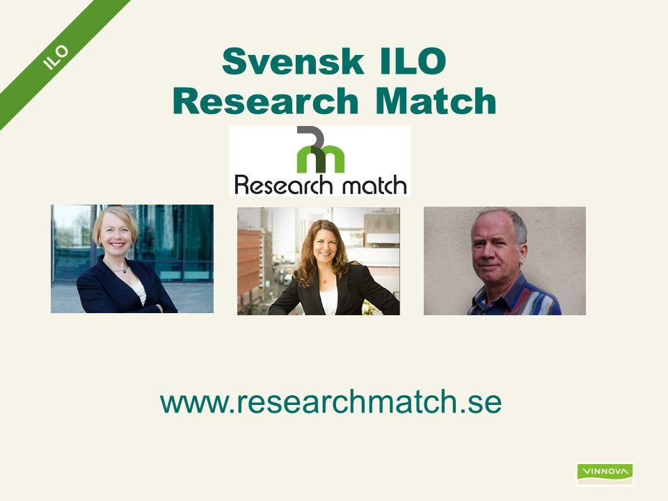 Infogad sidfot, datum och sidnummer syns bara i utskrift (infoga genom fliken Infoga -> Sidhuvud/sidfot) Svensk ILO Research Match ILO www.researchmatch.se